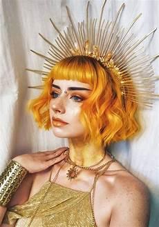hair art editorial orange hair and gold everything makeup