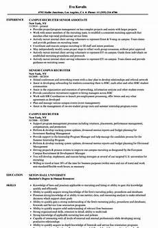College Recruiter Resume Campus Recruiter Resume Samples Velvet Jobs