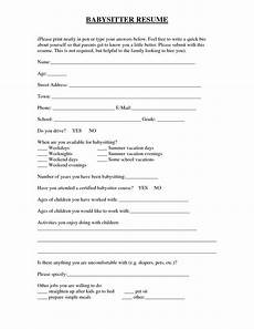 Babysitting Application Form Babysitter Application Template