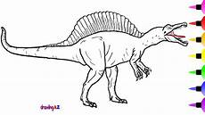 how to draw a spinosaurus dinosaur for learn colors and