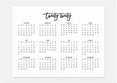 2020 Simple Calendar 2020 Landscape Calendar 2020 Calendar