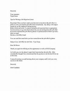 Letter To Turn Down A Job Offer Decline A Job Interview