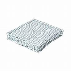 homescapes blue white gingham check floor cushion 100