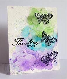 Water Color Cards Watercolour Techniques Card Making Butterflies Card