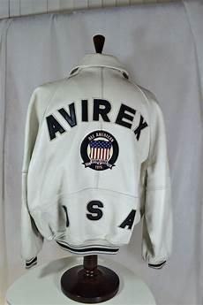 all white bomber jacket designer jackets avirex varsity leather jacket white usa xl lined
