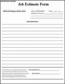 Job Estimates Job Estimate Template Estimate Template Quote Template