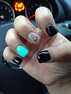 Black And Teal Nail Designs Black Teal And Gold Nails Gold Nails Black Gold Nails