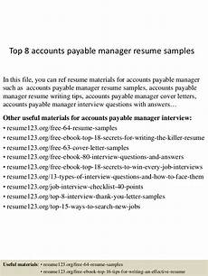 Accounts Payable Manager Resume Top 8 Accounts Payable Manager Resume Samples