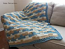 crochet afghan and stenciled pillow vintage paint and