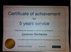 Years Of Service Certificate Tribal Awards Service Uk Tribalingua