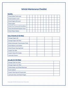 Car Maintenance Checklist Form Free Printable Car Maintenance Checklist