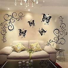 removable black vinyl butterfly vine flower wall decal
