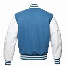 Light Letterman Jacket C110 2xl Light Blue Wool White Leather Varsity Jacket