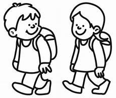 Schule Und Familie Malvorlagen Junior Kostenlose Malvorlage Schule Kinder Auf Dem Schulweg Zum