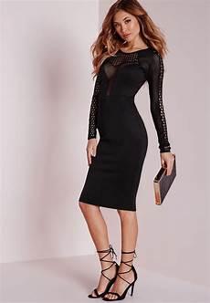 missguided mesh insert sleeve midi dress black in