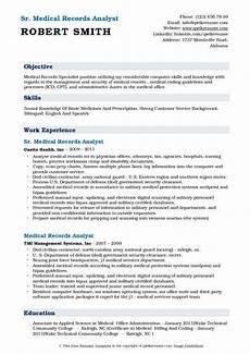 Medical Records Resume Sample Medical Records Analyst Resume Samples Qwikresume