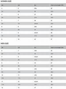 And Shoe Size Chart Size Chart Craft Sportswear
