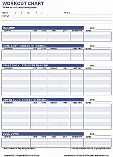 Workout Rep Sheet Free Workout Chart Template With Images Workout Chart