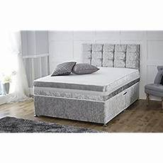 4ft6 silver crushed velvet 2 drawer divan bed with memory