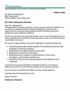 Cover Letter Consultant 40 Free Cover Letters For Sales And Marketing Jobs