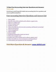 Interview Questions Accounting 15 Best Cost Accounting Interview Questions And Answers