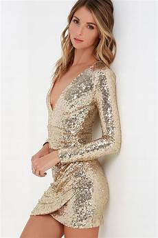 Light Gold Sequin Dress Pretty Gold Dress Sequin Dress Long Sleeve Dress 54 00