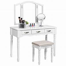 songmics vanity table set with tri folding mirror large