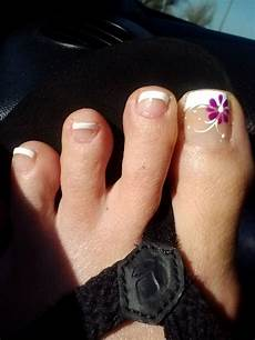 French Tip Toe Designs French Pedicure With Flower Design First Time Visit