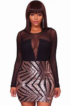 club clothes wholesale black sheer mesh sleeve chagne sequin