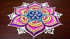 Color Kolam Designs With Dots Beautiful Color Rangoli Designs With 7x4 Dots Simple