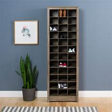 prepac space saving shoe storage cabinet drifted gray