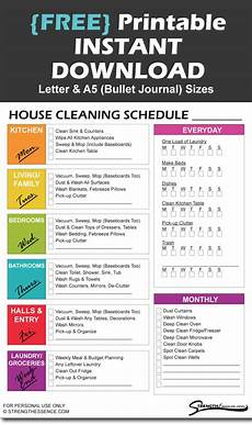 Printable Cleaning Schedule Template Free Printable House Cleaning Schedule Template Strength