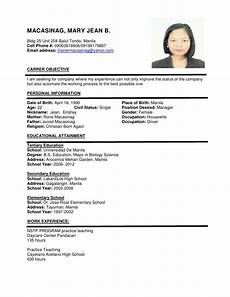 Sample Of A Cv Format Sample Resume Format Task List Templates