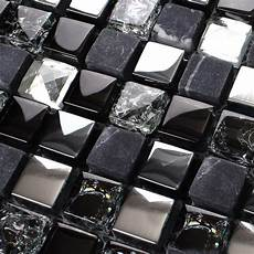 black kitchen backsplash crackle mosaic silver plating glass tile