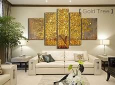 quadri moderni per arredamento da letto 5 panels abstract gold tree painting palette knife