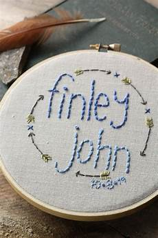 baby name embroidery hoop personalized by
