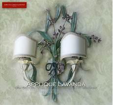 applique country chic applique lavanda a due con paralumi artigianali