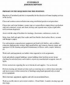Custodian Job Description Resume Sample Custodian Resume 8 Examples In Word Pdf
