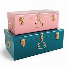 beautify teal pink metal storage trunks chest bedroom