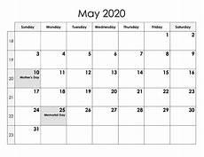 Printable May 2020 Calendar With Holidays May 2020 Calendar Printable Template With Holidays
