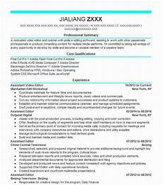 Video Editing Resume Assistant Video Editor Objectives Resume Objective