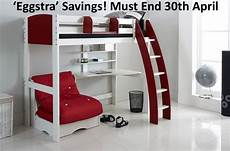 high sleeper bed integral desk and shelves with chair