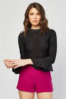 flair sleeve blouse perforated flared sleeve blouse just 6