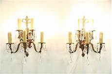 Candle Sconce Light Fixtures Sold Pair Of Vintage Bronze 5 Candle Wall Sconce Light