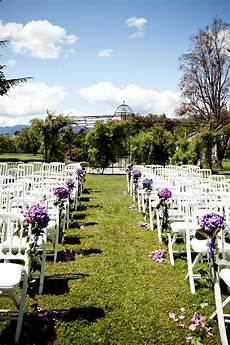 outdoor wedding ceremony decoration hydrangea bouquets