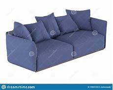 Blue Sofa Set 3d Image by Blue Soft Sofa With Cushions 3d Rendering Stock
