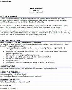 Cv For Medical Receptionist Receptionist Cv Example Icover Org Uk