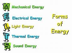 List Five Sources Of Light Forms Of Energy Mechanical Energy Sound Energy Electrical