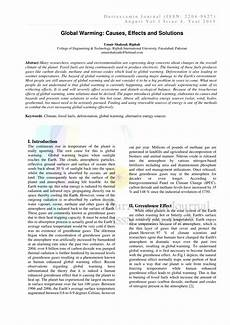 Causes And Effects Of Global Warming Essay Pdf Global Warming Causes Effects And Solutions