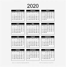 2020 Mini Calendar Printable 2020 Calendar Png Transparent Images Free Printable 2019